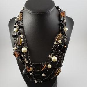 Lia Sophia Necklace 6 Strands Black Amber White